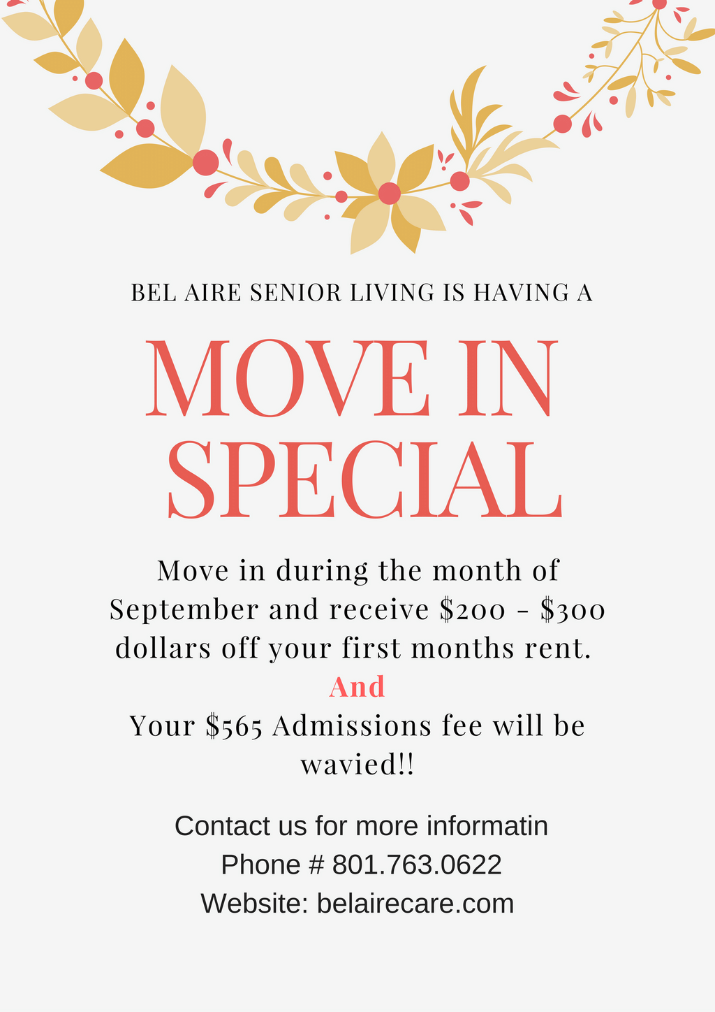 September Move in Special