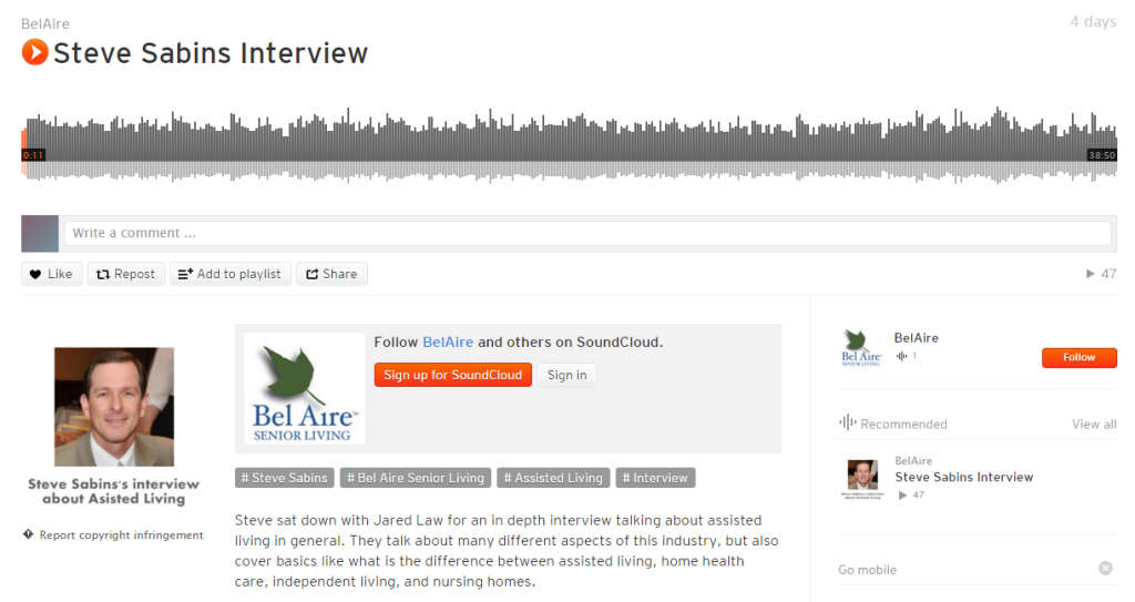 Steve Sabins Interview about Assisted Living - part 1