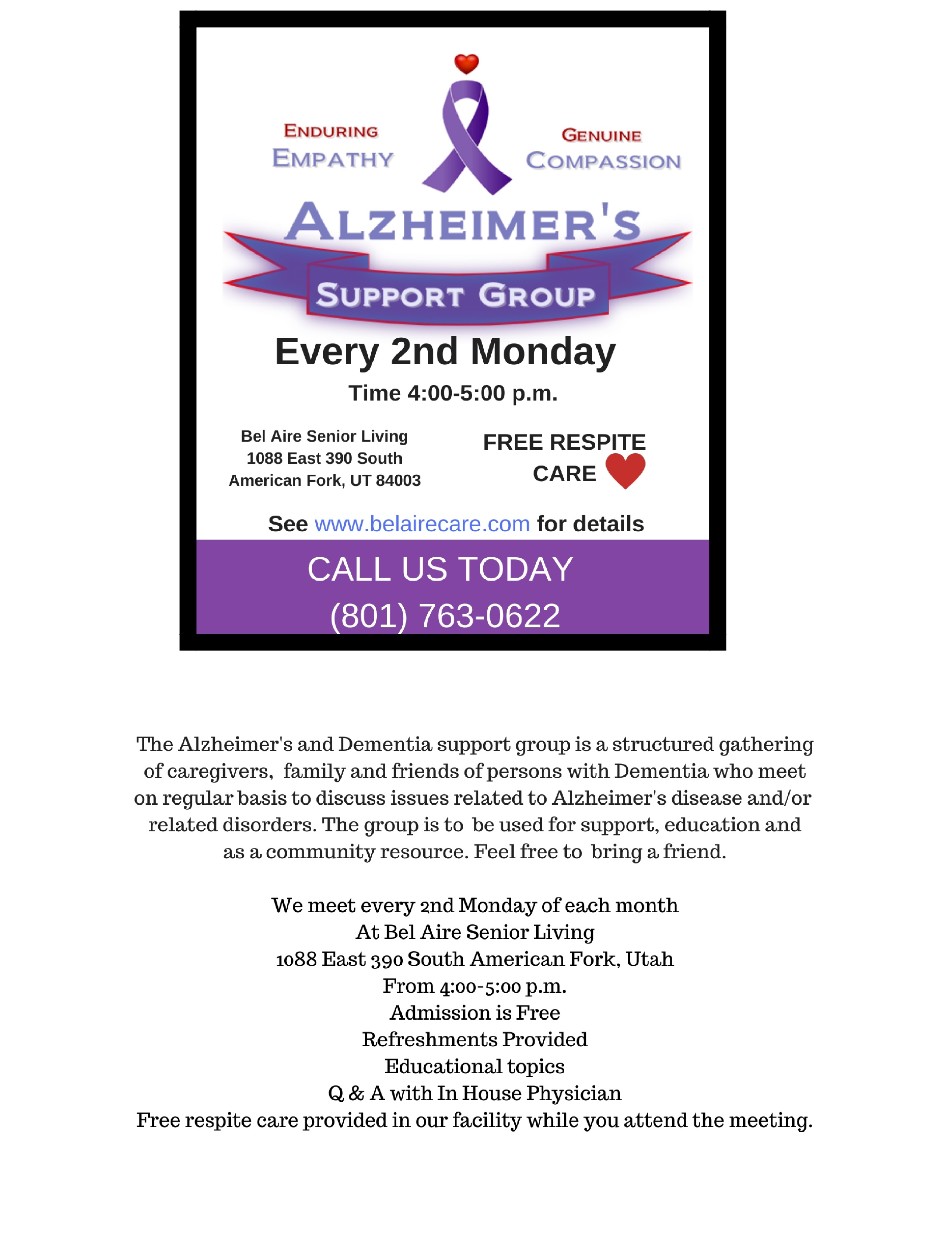 Alzheimer's Meeting on Monday